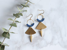 Load image into Gallery viewer, Pair of Handmade Brushed triangle with spike macrame earrings in golden and blue color.