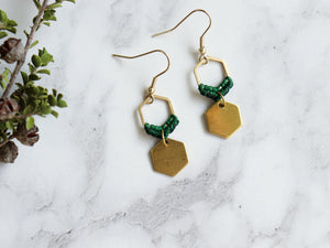 Closeup Mini hexagon style macrame earrings in green and golden color.