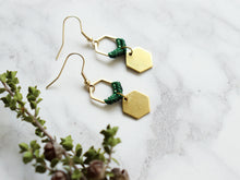 Load image into Gallery viewer, Sideview of Mini hexagon style macrame earrings in green and golden color.