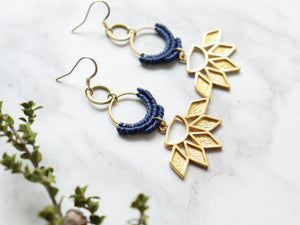 Sunflower drop macrame earrings