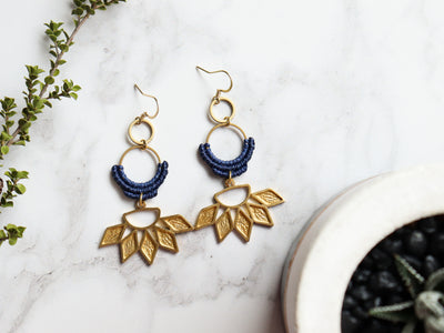 Sunflower shaped drop macrame earrings in blue & golden color.