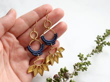 Load image into Gallery viewer, Sunflower drop macrame earrings