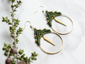 Pair of Spike hoop style macrame earrings Made with knotted waxed polyester and brass.