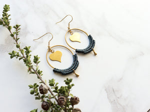 Heart hoop macrame earrings