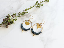 Load image into Gallery viewer, Heart hoop macrame earrings