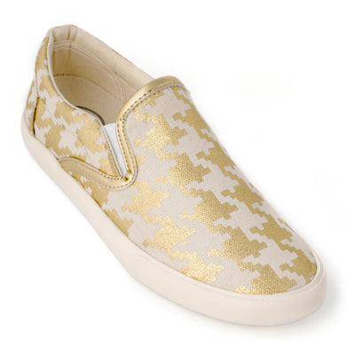 Gold Houndstooth Slip On
