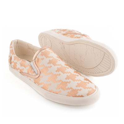 Rose Gold Houndstooth Slip On