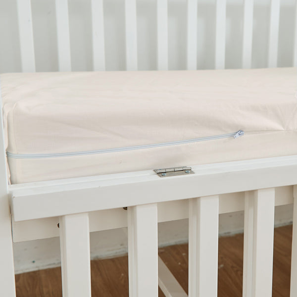 "Zippered Natural Cotton Crib Mattress Sheets / Covers Zippered Crib Mattress Protector ryan & emma bedding 25.5"" x 37"" x 1"""