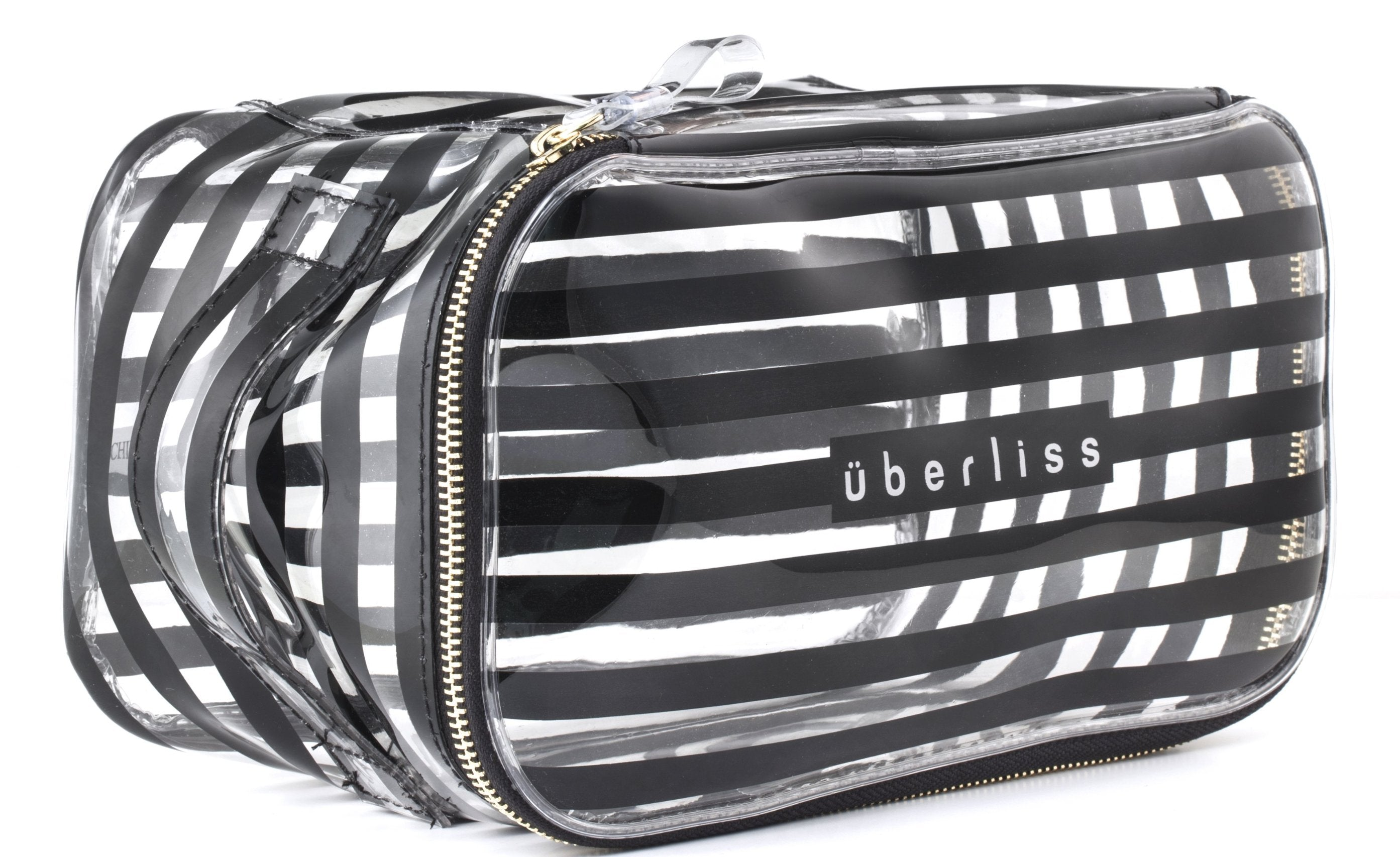 Clear B/W Stripe Cosmetic Bag