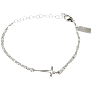 Horizontal Cross Double Chain Bracelet in Sterling Silver BR156