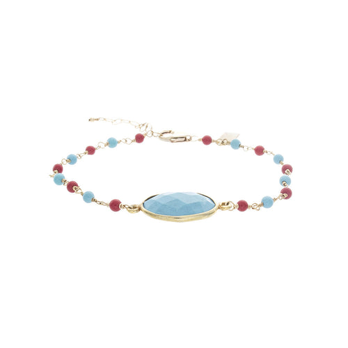 Oval Turquoise Bezel with Turquoise and Red Coral Chain BR178