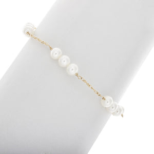 3 Pearl Bar with Chain in Between Bracelet in 14k Gold Filled BR193