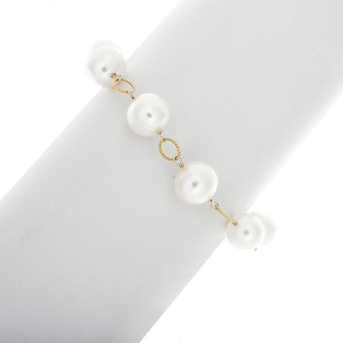 Pearls & Twisted Rings Bracelet in 14k Gold Filled BR194