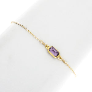 Small Amethyst Rectangle Gemstone Bracelet in 14k Gold Filled- BR208