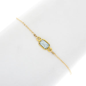 Small Aquamarine Rectangle Gemstone Bracelet - BR208