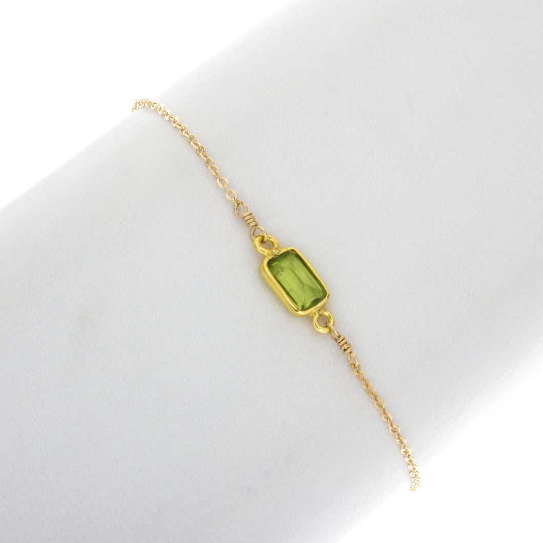 Small Peridot Rectangle Gemstone Bracelet in 14k Gold Filled - BR208