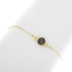 Small Round Black Onyx Gemstone Bracelet -BR209