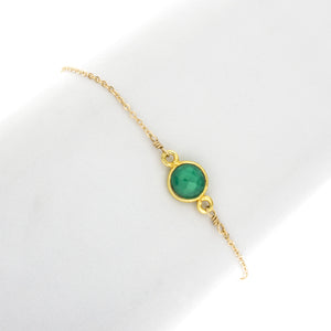 Small Round Green Onyx Gemstone Bracelet -BR209