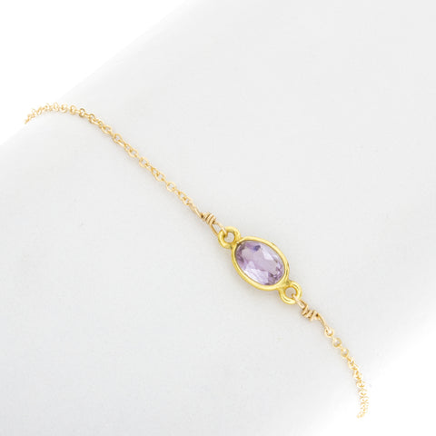 Small Oval Amethyst Gemstone Bracelet - BR211