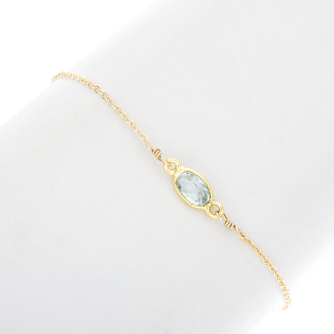 Small Oval Aquamarine Gemstone Bracelet - BR211