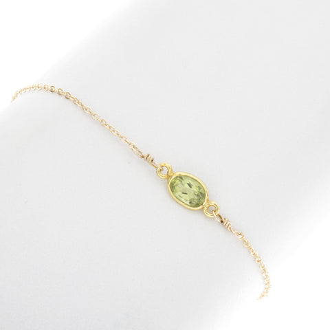 Small Oval Peridot Gemstone Bracelet - BR211