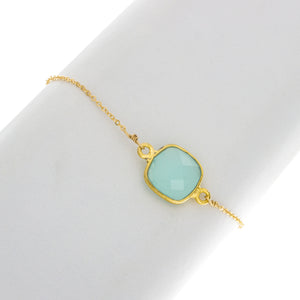 Medium Square Green Chalcedny Bezel Gemstone Bracelet- BR216
