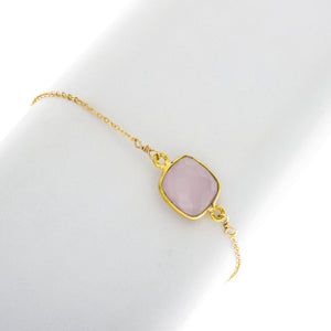 Medium Square Rose Quartz Bezel Gemstone Bracelete - BR216