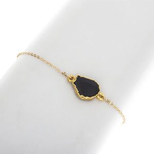 Small Natural Cut Black Onyx Gemstone Bracelet - BR217