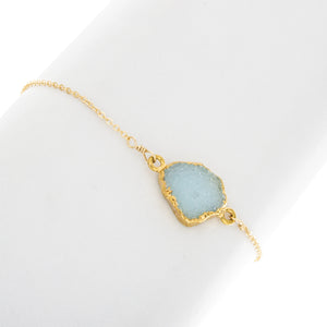 Small Natural Cut Blue Druzy Gemstone Bracelet - BR217