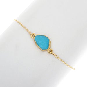 Small Natural Cut Turquoise Gemstone Bracelet - BR217