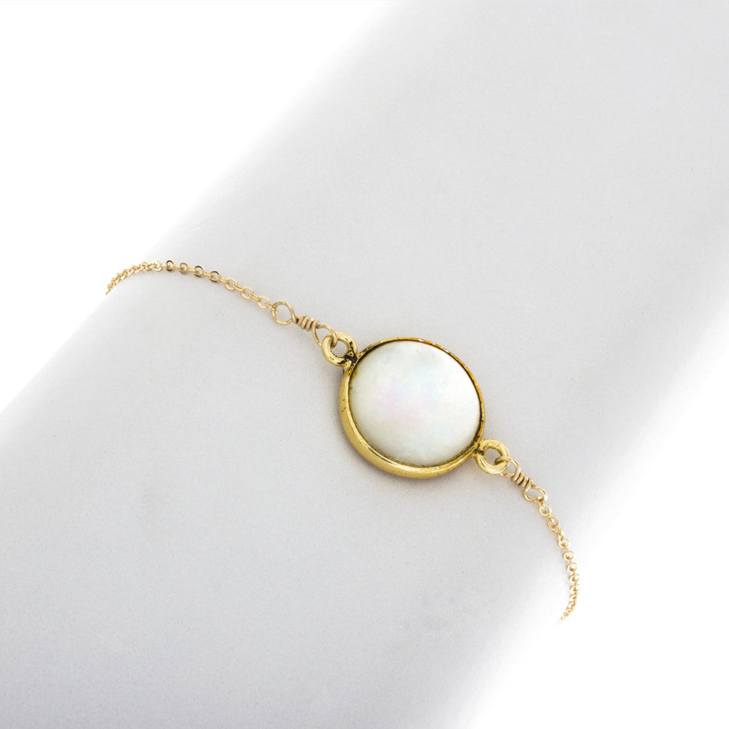 Round Mother of Pearl Bezel Bracelet - BR219