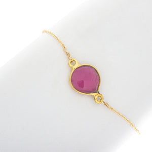 Heart Shaped Bezel Gemstone Bracelet - BR222