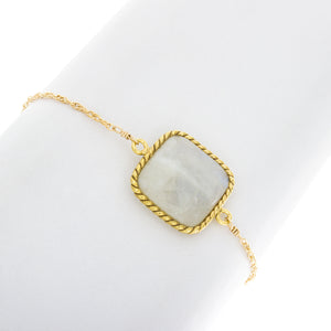 Large Square Rope Moonstone Bezel Bracelet BR224
