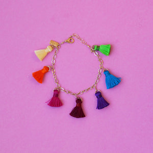 7 Rainbow Tassels Dangling On Chain