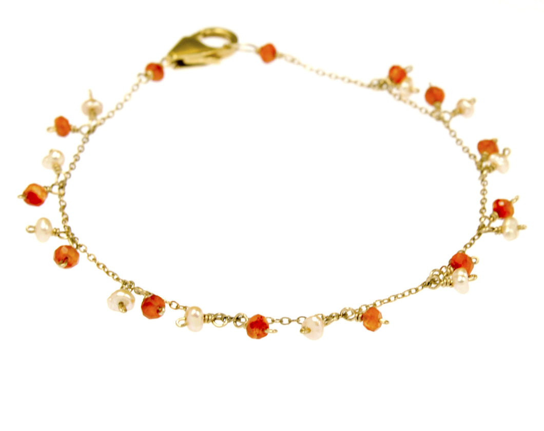 Orange Carnelian Bracelet in Gold Filled BR088