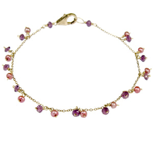 Rhodolite Garnet & Pearls - Gold Filled BR091