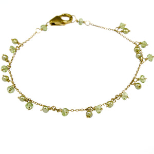 Peridot and Pearls Bracelet - Gold filled BR092