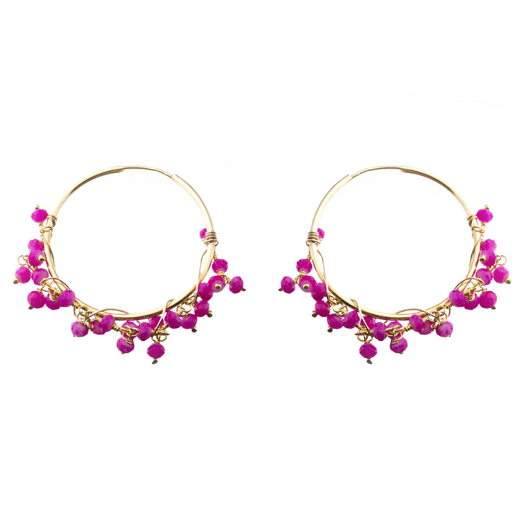 Hot Pink Beaded Endless Hoop Earrings