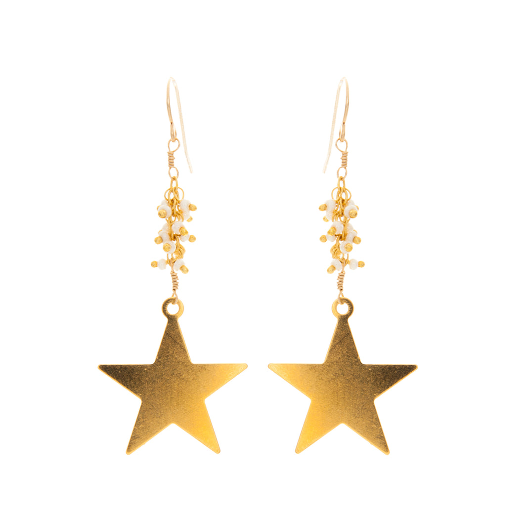 Medium Flat Star with Rolled Pearl Chain Earrings