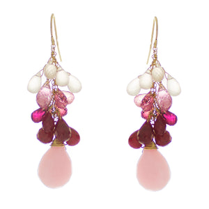 Rose Pompadour Drop Earrings
