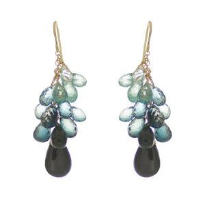 Shades of Blues/Black Drop Earrings