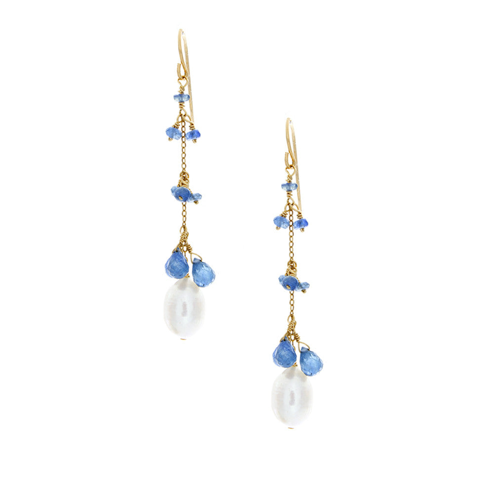 Pearl Drop with Blue Sapphire Drops