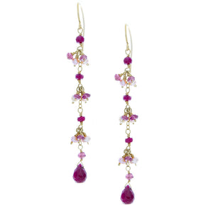 Ruby Drops with Rhodolite Garnets and Pearls Clusters