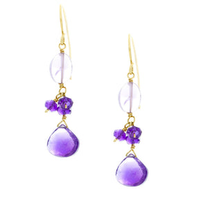 Amethyst drop with oval and rondelle dangles