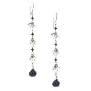 Black Onyx drops with Labradorite & Gray Pearls Clusters