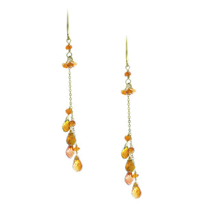 Golden Tourmaline Briolette Drop with Mandarin Garnet