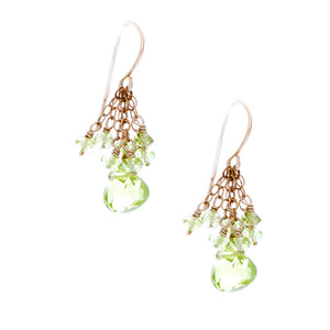 Peridot drop with cascading chains