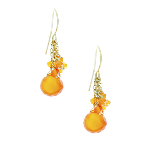 Orange Carnelian drop with cascading chains