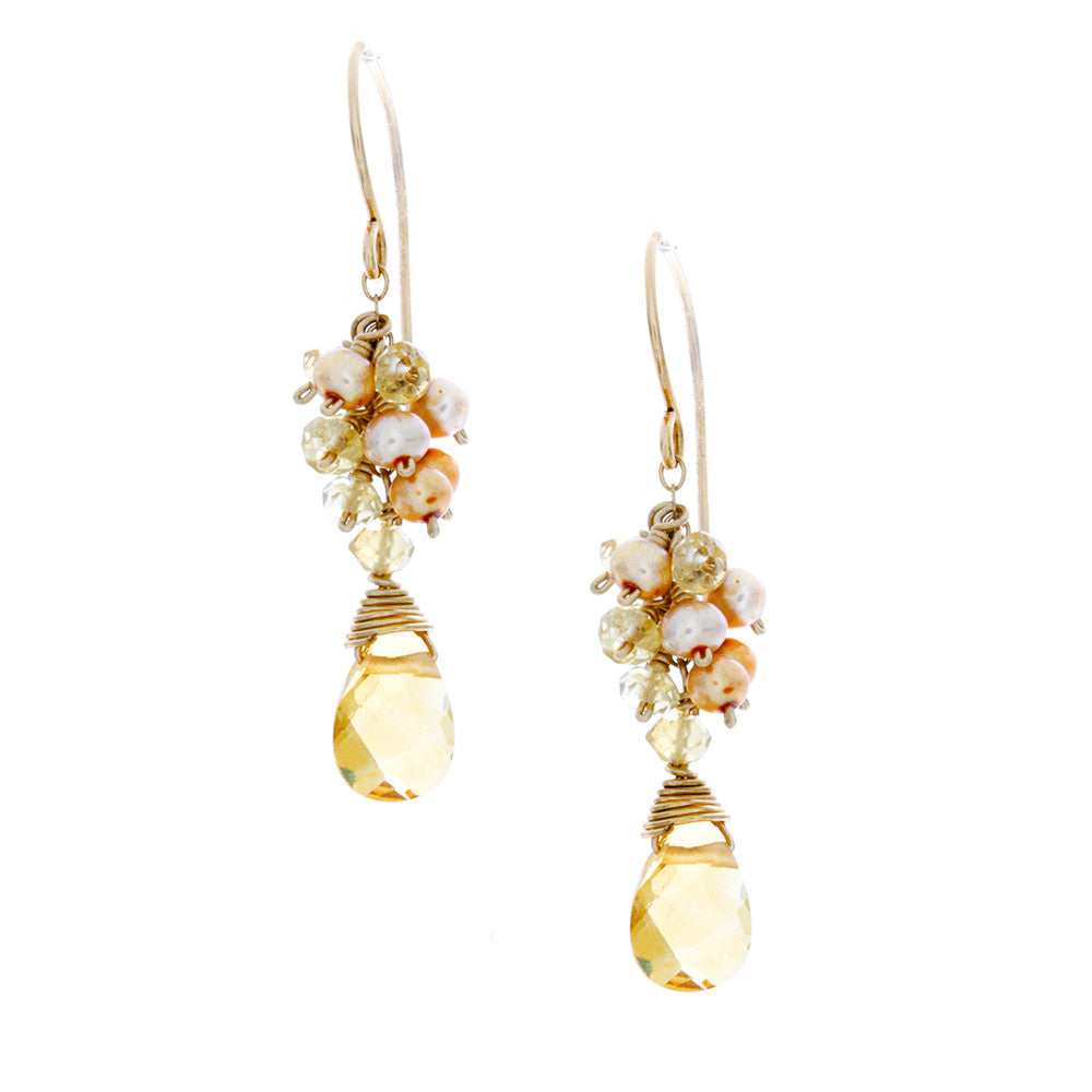 Citrine drop with citrine rondelles & light gold pearls clusters