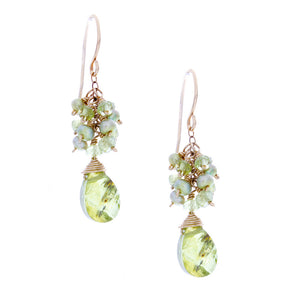 Peridot drop with peridot rondelles & green pearls clusters